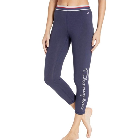 Champion Pants Blue Heritage Logo Leggings Size Xs Poshmark
